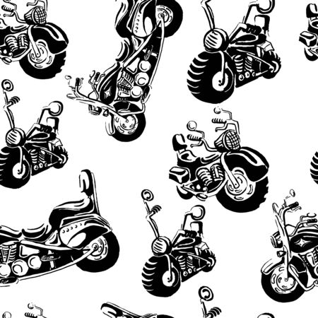 vector sketch seamless of hand drawn motorbikes