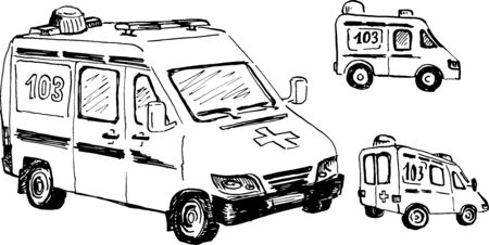 ambulance doodle drawing, ink vector illustration, black and white, isolated Ilustración de vector