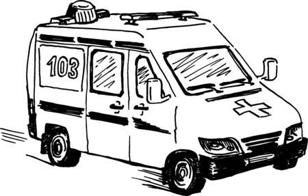 ambulance doodle drawing, single isolated ink vector illustration