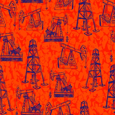 derrick and pump jack. oil industry. seamless hand drawn sketches. lush lava and phantom blue. isolated