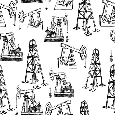 derrick and pump jack. oil industry. seamless hand drawn ink sketches. black and white. isolated