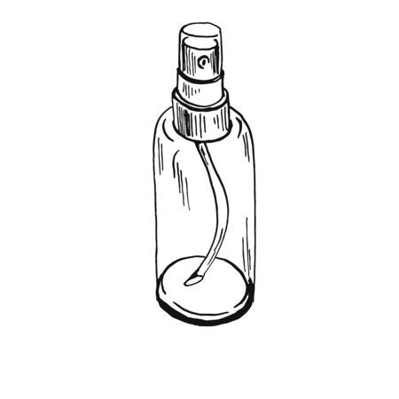 cylindric sprayer bottle black oultine sketch hand drawn closeup isolated on white background Vettoriali