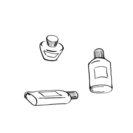 set of small bottles black oultine sketch hand drawn closeup isolated on white background Vettoriali
