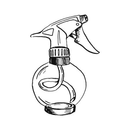 sphere sprayer bottle black oultine sketch hand drawn closeup isolated on white background