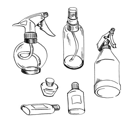 set of sprayer bottles black oultine sketch hand drawn closeup isolated on white background