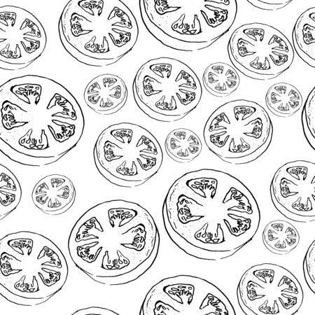vector seamless of a gorizontal cut of tomato doodle style. hand drawn. black and white 일러스트