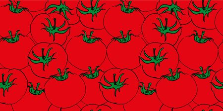 vector seamless color sketch of a mess of tomatos hand drawing