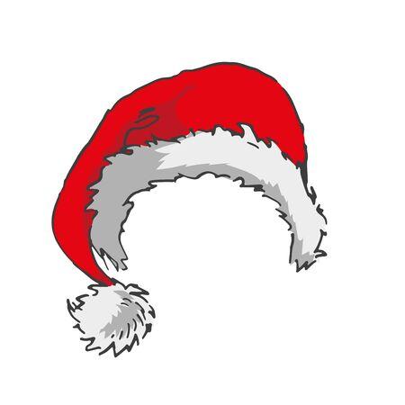 santa hat with pompon on left side. colour isolated vector sample. hand drawn illustration Ilustração