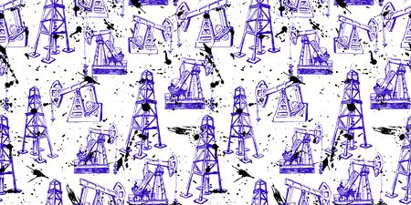 seamless of derrick and pump jack. oil industry. hand drawn flourish blue ink sketches.  イラスト・ベクター素材