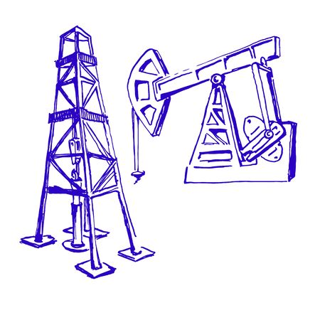ink sketches of derrick and pump jack. oil industry. hand drawn flourish drawing  イラスト・ベクター素材