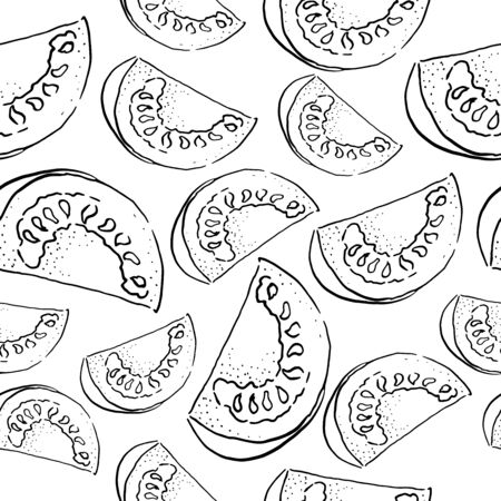 vector seamless of a section of tomato doodle style. hand drawn. black and white
