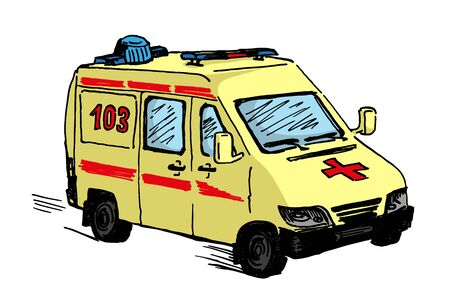 ambulance doodle drawing, single isolated colour vector illustration on white background