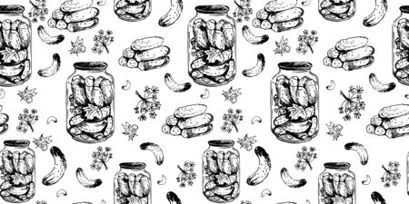 seamless with pot of salt cucumbers and parts of recipe. hand drawn ink sketch. vector illustration