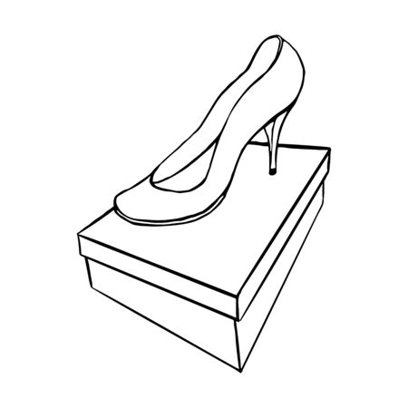 front view of a shoe on the box. outline hand drawn sketch isolated from background  イラスト・ベクター素材