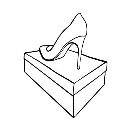 back view of a shoe on the box. outline hand drawn sketch isolated from background  イラスト・ベクター素材