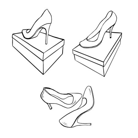 set of outline sketches of shoes isplated hand drawn  イラスト・ベクター素材