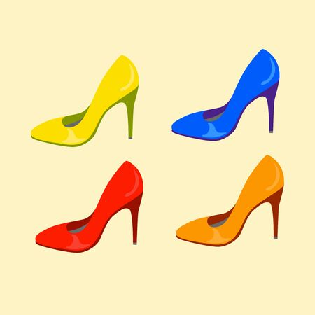 set of colour shoes. vector illustration  イラスト・ベクター素材