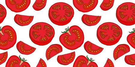 vector seamless color sketch of a cut tomatos