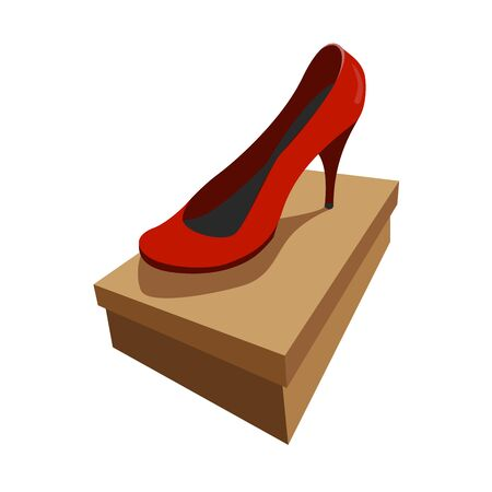 front view of a red shoe on the box. colour vector illustration