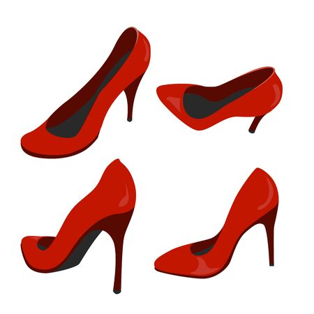 different views of a red shoe. colour vector illustration  イラスト・ベクター素材