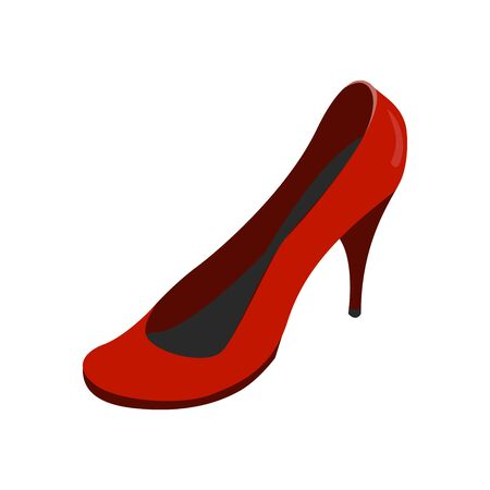 front view of a red shoe. colour vector illustration