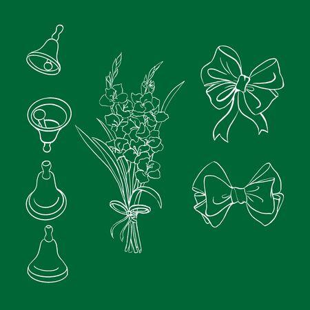 green chalbord with school holiday element set  イラスト・ベクター素材