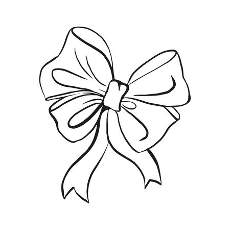 Bow with ribbons outline hand drawn sketch isolated Vettoriali