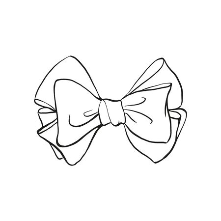 Bow outline hand drawn sketch isolated