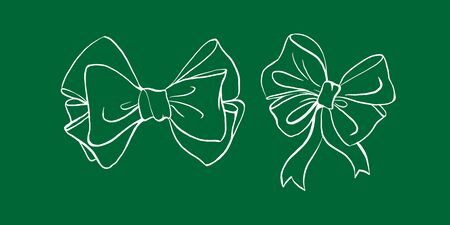 Bows on green chalk board outline hand drawn sketch isolated