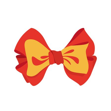 red and yellow bow colour vector illustration isolated