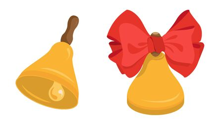 set of two school bells with clapper and bow. vector illustration isolated
