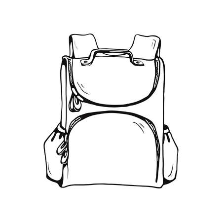 school bag front view outline vector sketches isolated on white background  イラスト・ベクター素材