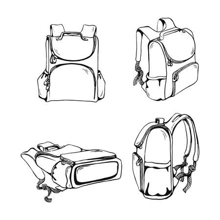school bag set different views outline vector sketches isolated on white background  イラスト・ベクター素材