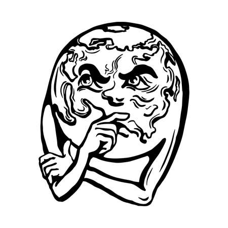 Cartoon globe Earth face with thinking emotion vector illustration