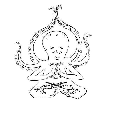 Meditating octopus. vector outline illustration  イラスト・ベクター素材