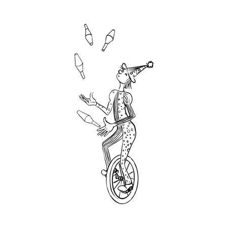 Outline drawind of juggler on monobike. vector illustration  イラスト・ベクター素材