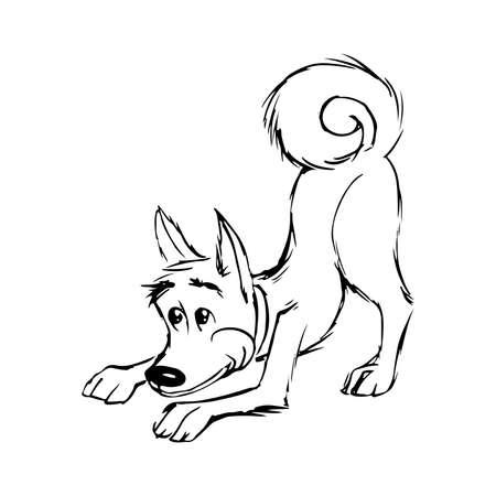 outline sketch of playing dog hand drawn isolated  イラスト・ベクター素材