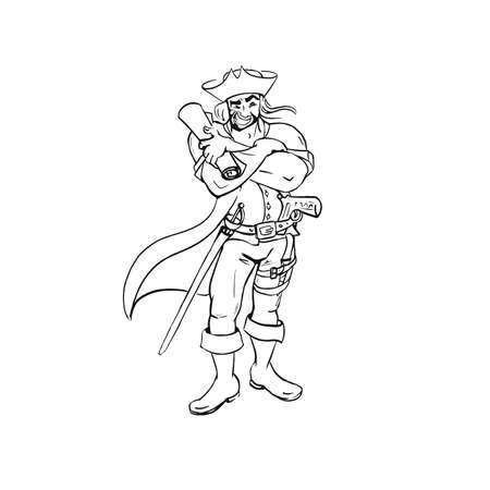 Pirate outline hand drawn sketch isolated