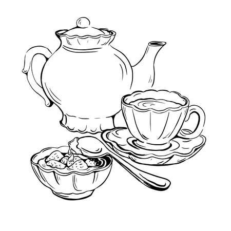 Vector sketch of tea set with cup, saucer, teapot and jam