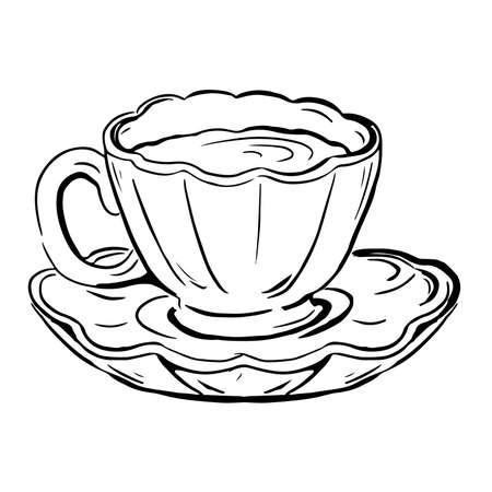 Vector sketch of tea pair cup and saucer  イラスト・ベクター素材