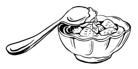 Vector sketch of saucer with strawberry jam and a spoon