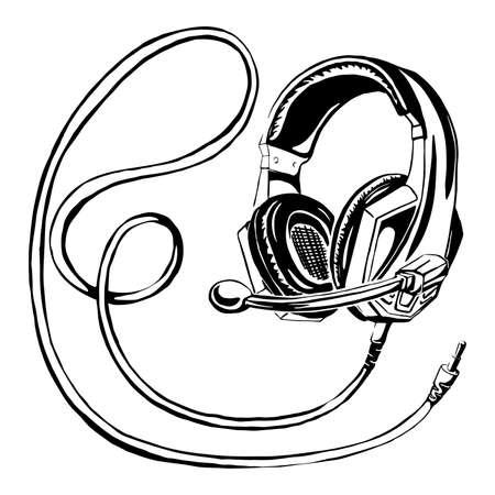 vector drawing of headphones. Equipment for distant work.