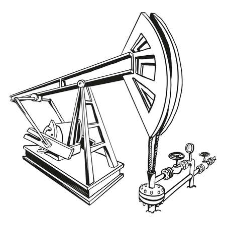 vector drawing of oil pump jack  イラスト・ベクター素材