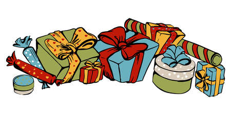 colour vector drawing of gifts in holiday wrapper with ribbon