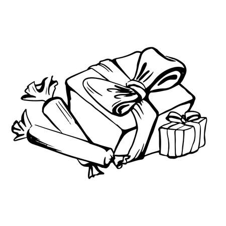 vector drawing of two boxes with ribbon and two sweets