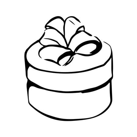 vector drawing of round box with ribbon