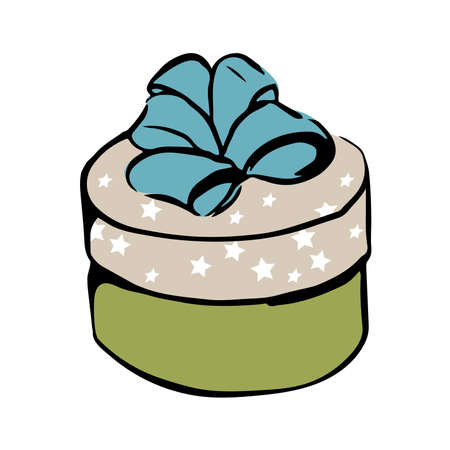 vector colour drawing of round box with ribbon
