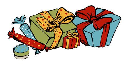 vector colour drawing of three boxes with ribbon and two sweets
