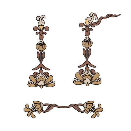 set of vintage decoration element brown colour