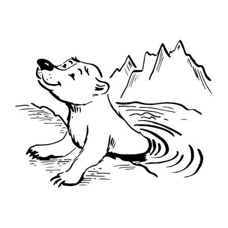 polar bear in water. ink vector sketch